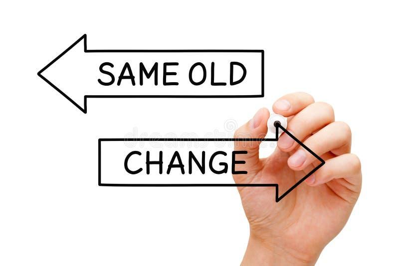 O mesmo conceito velho ou da mudança das setas imagem de stock