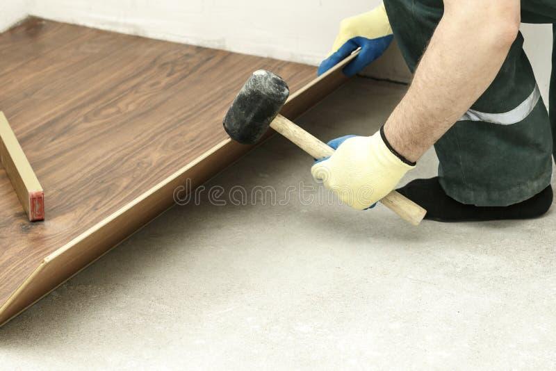 o mestre em luvas azuis faz a colocação floorboard há um nível e martelo de borracha fotografia de stock royalty free