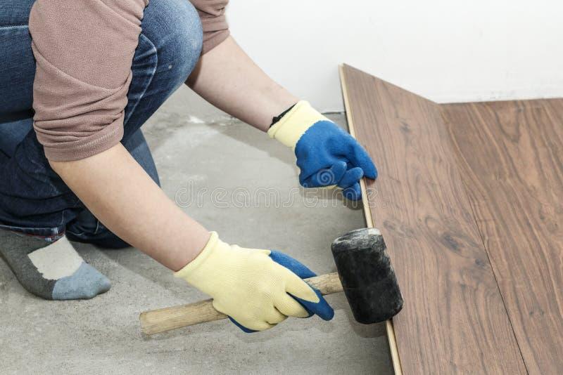 o mestre em luvas azuis faz a colocação floorboard há um nível e martelo de borracha foto de stock