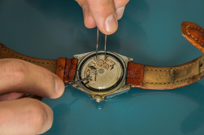 O mestre repara o relógio mecânico desmontado fotos de stock royalty free