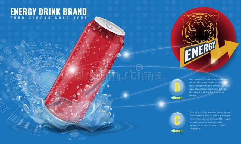 O metal da bebida da energia pode modelo com respingo da água e gotas para o molde da disposição 3d da propaganda para seu projet ilustração royalty free