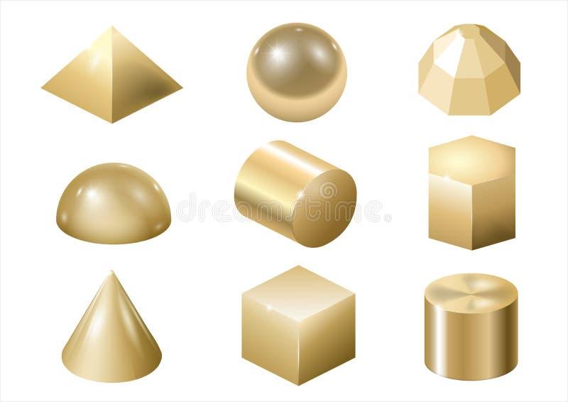O metal do ouro forma 3 ilustração do vetor