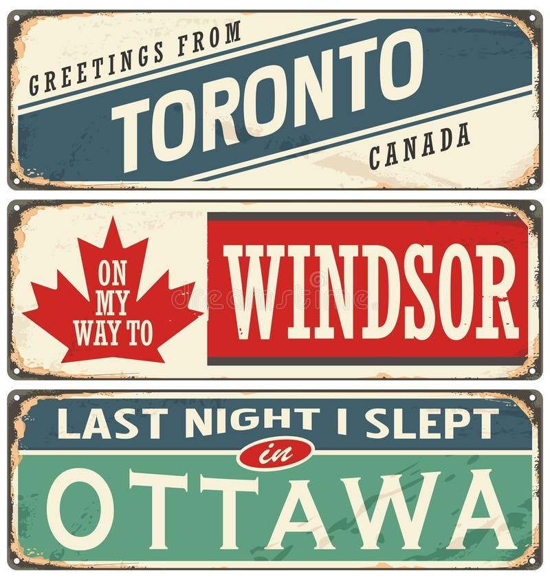 O metal do vintage assina a coleção com cidades de Canadá ilustração do vetor