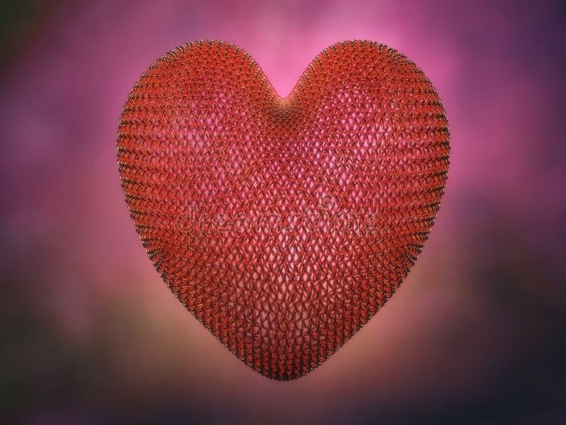 O metal prendeu o coração vermelho ilustração stock