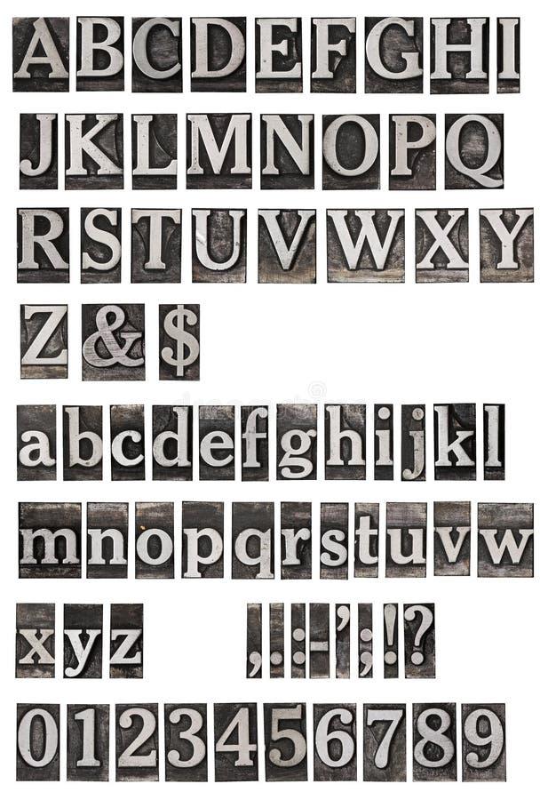 O metal velho rotula o alfabeto foto de stock royalty free