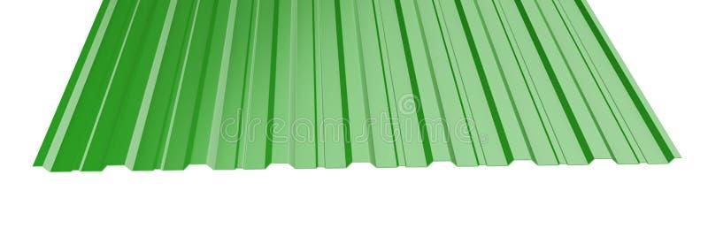 O metal verde corrugou a pilha da folha do telhado - vista dianteira imagens de stock