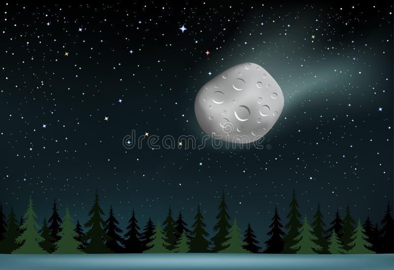 O meteorito cai sobre a madeira da noite ilustração royalty free