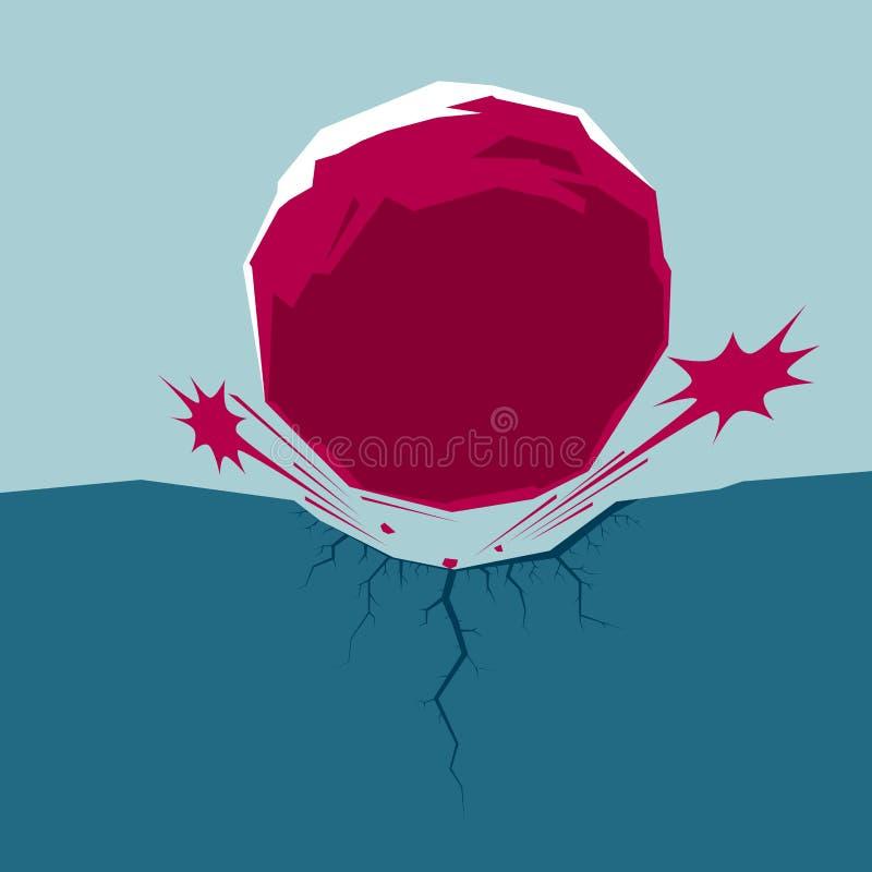 O meteorito caiu ilustração do vetor