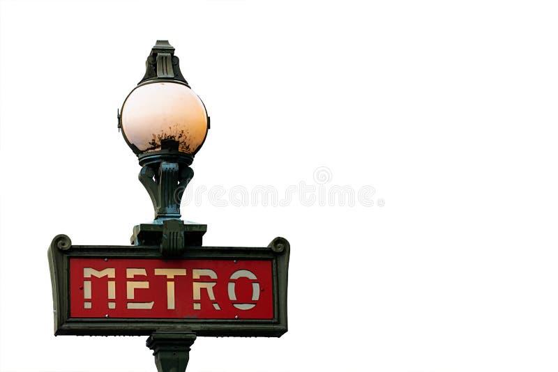 O metro bonito do vintage assina dentro Paris, França imagens de stock