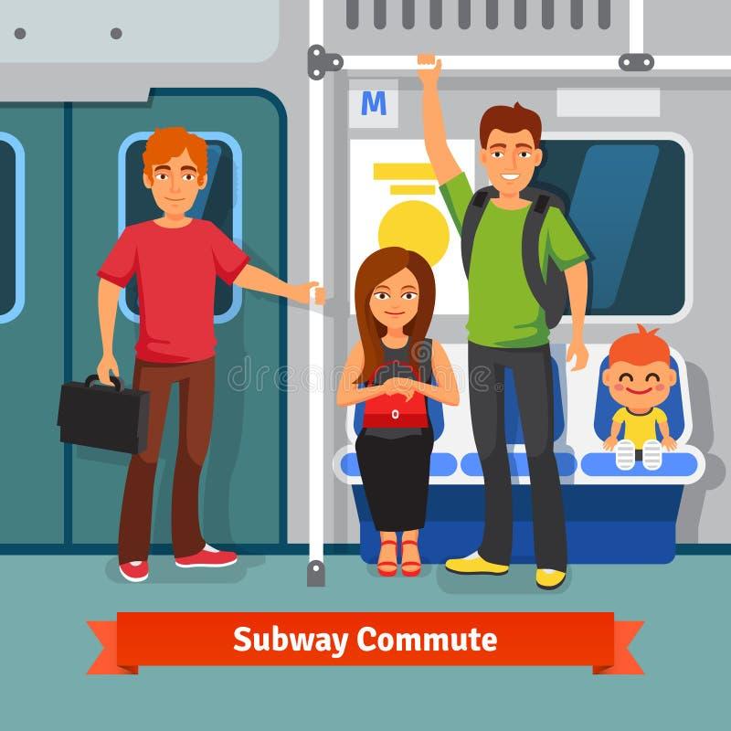 O metro comuta Assento dos povos, estando no trem ilustração stock