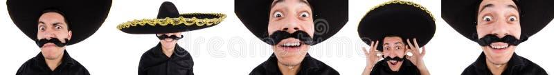 O mexicano engraçado com chapéu do sombreiro imagens de stock