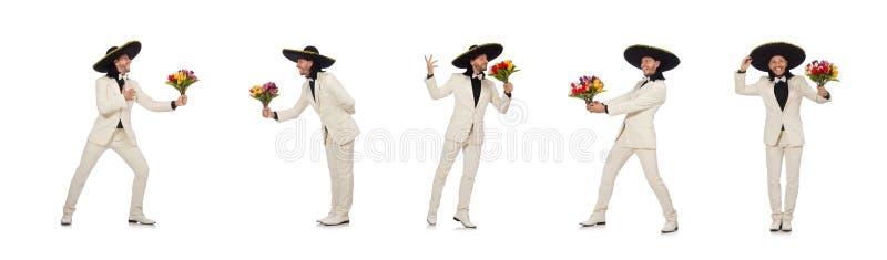 O mexicano engraçado no terno que mantém flores isoladas no branco fotografia de stock royalty free