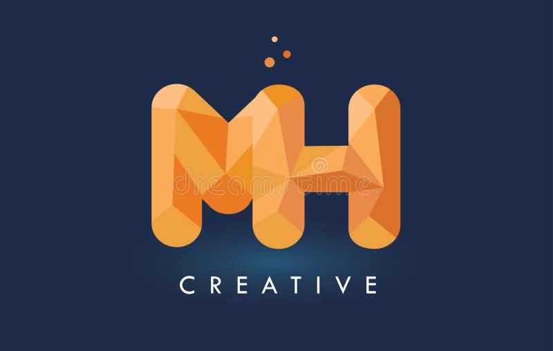 O MH rotula com logotipo dos triângulos do origâmi Alaranjado amarelo criativo ou ilustração royalty free
