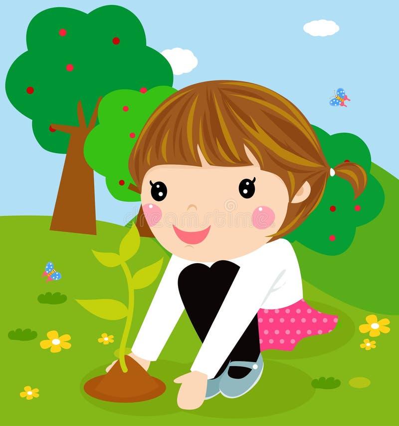 O miúdo feliz está plantando plantas pequenas ilustração royalty free