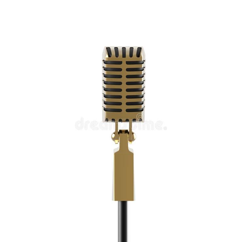 O microfone do ouro do vintage no fundo branco rende ilustração royalty free