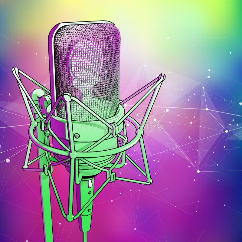 O microfone profissional em um fundo tecnologico azul esverdeado frio é cercado por uma onda sadia ilustração do vetor