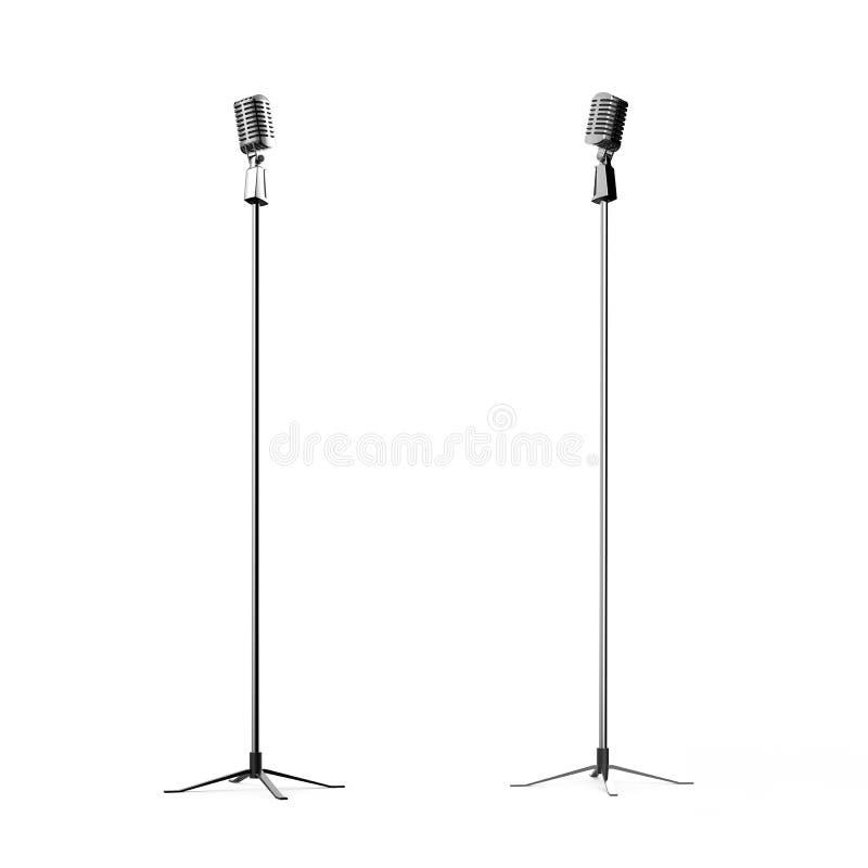 O microfone retro em 3d branco rende isolado ilustração stock