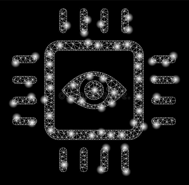 2.o microprocesador biónico de Vision de la malla brillante con los puntos de la llamarada ilustración del vector