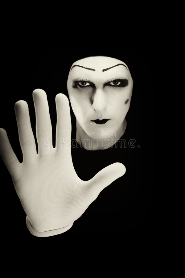 O mime isolado em um fundo preto. fotos de stock royalty free