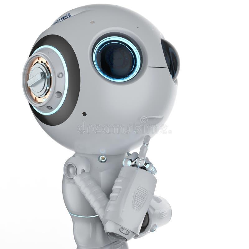 O mini robô pensa ilustração do vetor