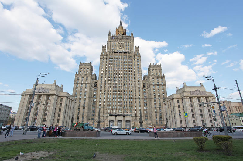 O Ministério dos Negócios Estrangeiros em Moscou, Rússia fotos de stock royalty free