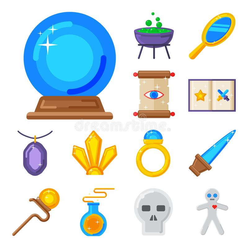 O mistério mágico especial do carnaval da fantasia do mágico do símbolo utiliza ferramentas a ilustração do vetor da decoração do ilustração stock