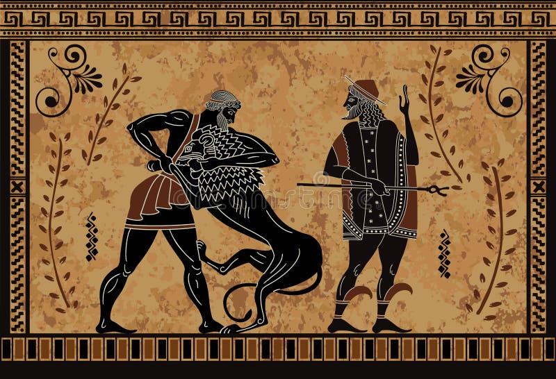 O mito antigo sceen, ação heroico de Hercules, guerreiro antigo e monstro, ilustração royalty free