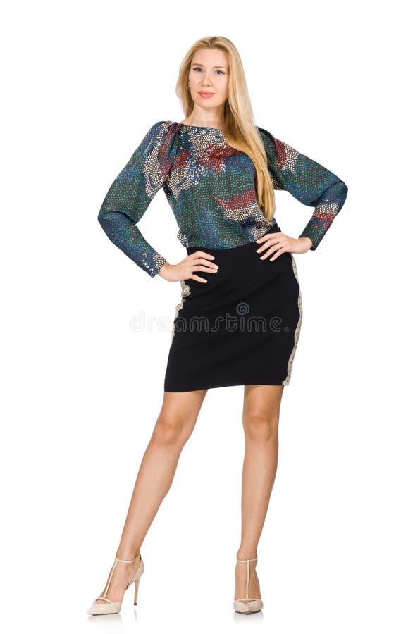 O modelo alto na saia preta isolada no branco imagem de stock royalty free