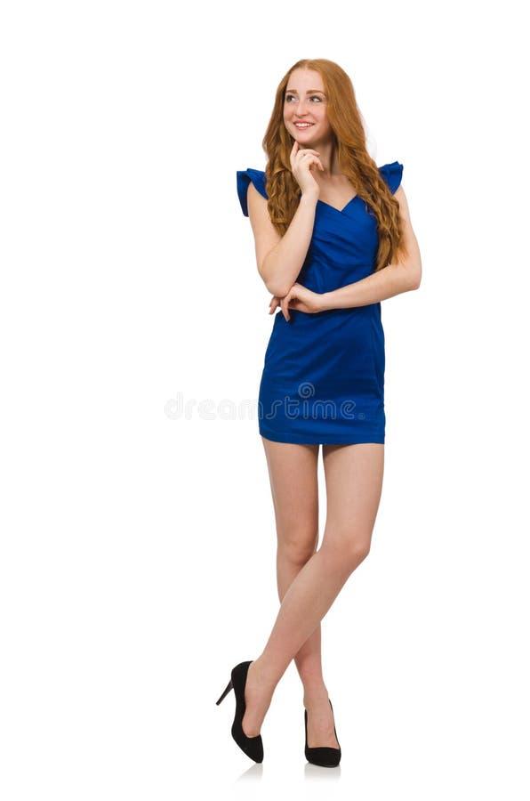 O modelo alto no vestido azul isolado no branco fotos de stock