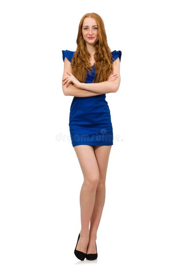 O modelo alto no vestido azul isolado no branco foto de stock