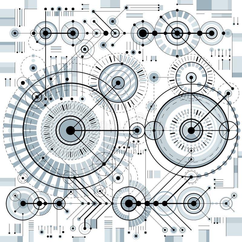 O modelo arquitetónico, vector o fundo digital com differen ilustração stock