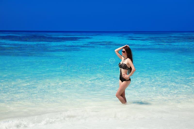 O modelo bonito da menina do biquini da forma bronzeou-se na praia tropical OU fotografia de stock
