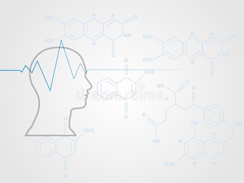 O modelo da cabeça humana com sinal da onda do coração na fórmula da química como o fundo representa a saúde e o conceito médico ilustração stock