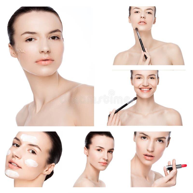 O modelo de forma da beleza da colagem com natural comp?e foto de stock