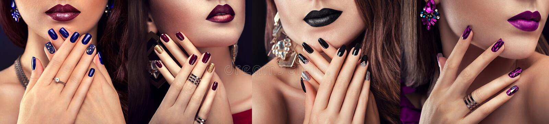 O modelo de forma da beleza com composição diferente e o prego projetam a joia vestindo Grupo de tratamento de mãos Quatro olhare foto de stock
