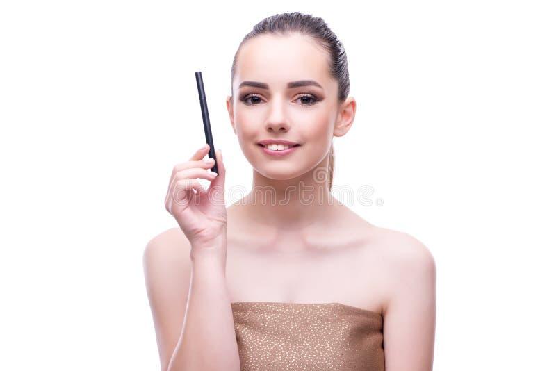 O modelo de forma fêmea bonito novo com compõe foto de stock royalty free
