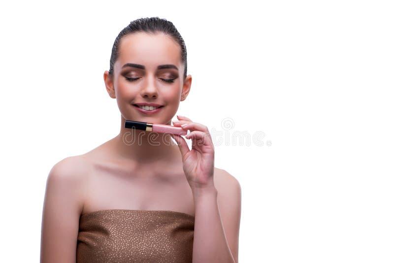 O modelo de forma fêmea bonito novo com compõe imagens de stock