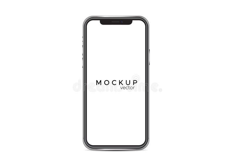 O modelo de Iphone x isolou-se no fundo branco ilustração royalty free