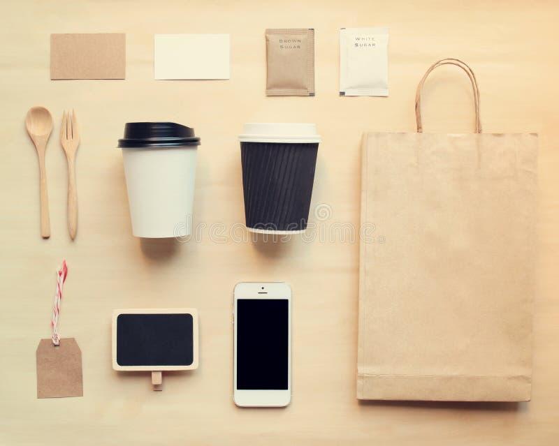 O modelo de marcagem com ferro quente da identidade do café ajustou-se da vista superior fotografia de stock