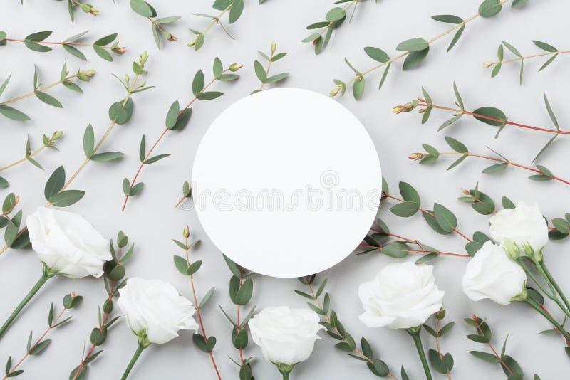 O modelo de Minimalistic das flores brancas e do eucalipto sae na opinião de tampo da mesa cinzenta estilo liso da configuração fotos de stock royalty free