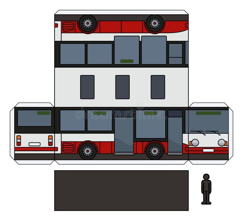 O modelo de papel de um ônibus pequeno da cidade ilustração royalty free