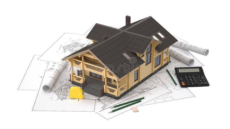 O modelo de uma casa de log nos desenhos do fundo com instrumentos de desenho imagens de stock