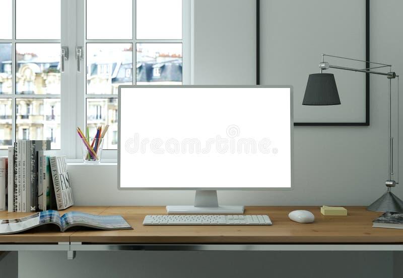 O modelo do computador de secretária com tela branca está na mesa de escritório ilustração royalty free