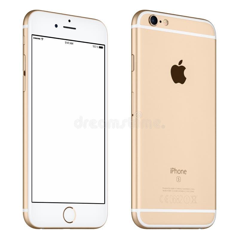 O modelo do iPhone 6S de Apple do ouro girou levemente a vista dianteira com