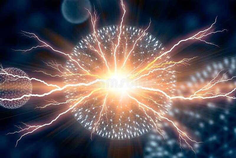 O modelo Electricity Nucleus Atom Nuclear do CG explode imagens de stock royalty free