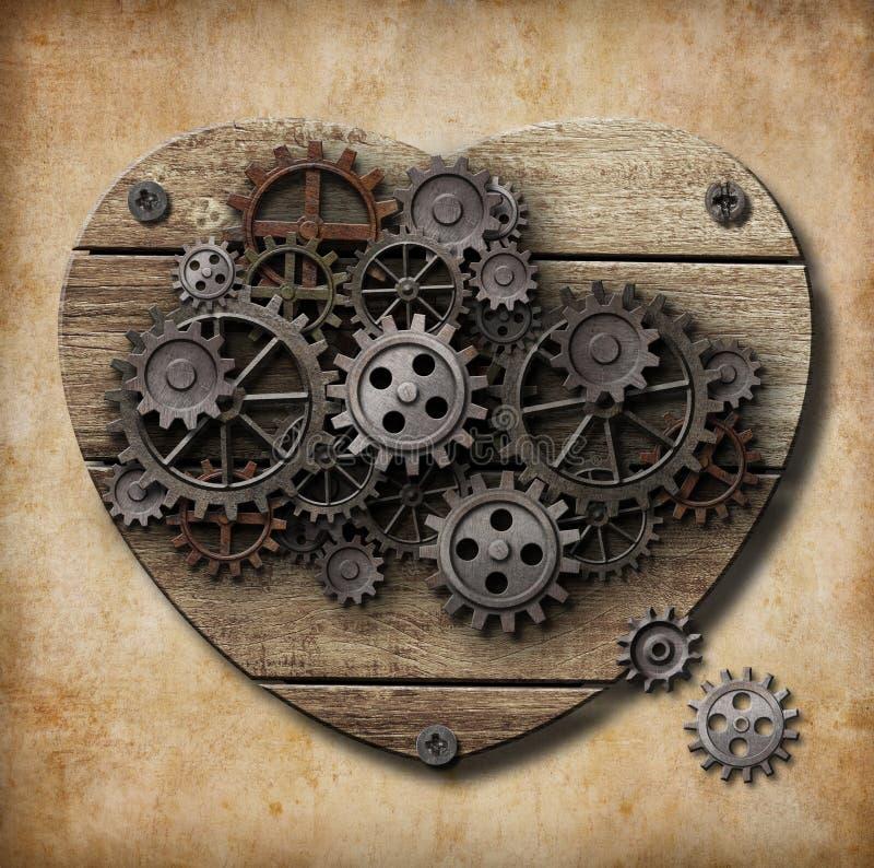 O modelo humano envelhecido do coração feito do metal alinha ilustração royalty free