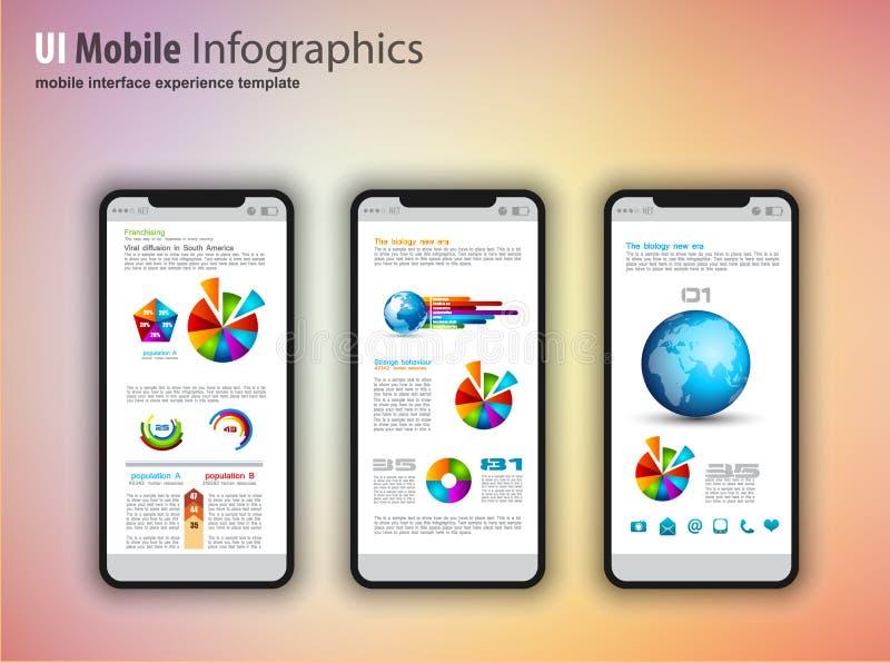 O modelo moderno do écran sensível telefona com infographics d do tefchnology ilustração do vetor