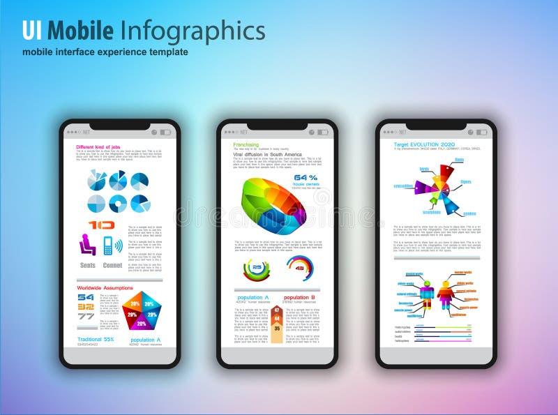 O modelo moderno do écran sensível telefona com infographics d do tefchnology ilustração royalty free