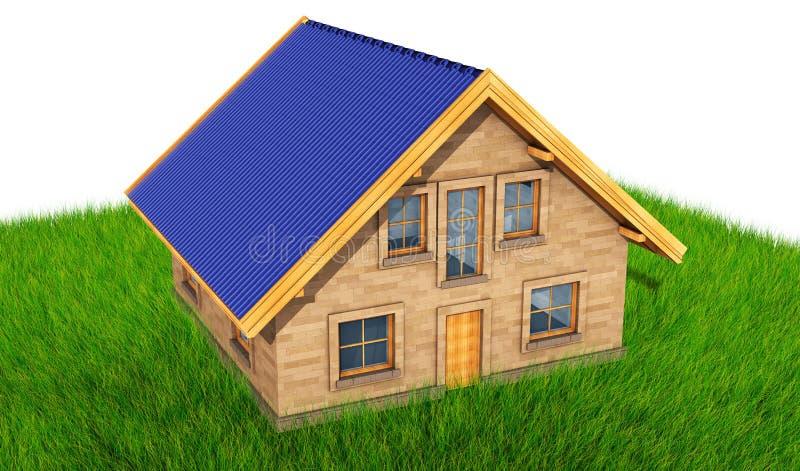 O modelo pequeno da casa sobre o fundo 3D da grama verde rende ilustração do vetor