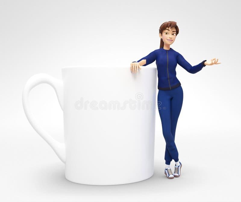 O modelo vazio do copo do café ou de chá guardou pelo sorriso e por Jenny feliz - caráter fêmea dos desenhos animados 3D no terno